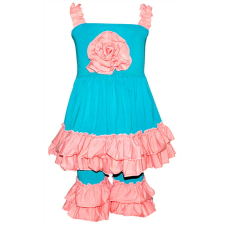 Girls Ruffled Summer Tank & Capri Boutique Outfit (4T/M, Teal) - Boutique Baby Clothes Online