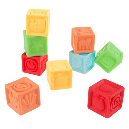 123 Soft Rubber Blocks-BPA-Free Colorful, Squeezable Numbers Building Block Set-Classic Educational Learning Toy for Babies and Toddlers by Hey! Play! - Baby Building Blocks