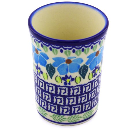 Polish Pottery 7 oz Tumbler (Pansy Morning Theme) Hand Painted in Boleslawiec, Poland + Certificate of Authenticity