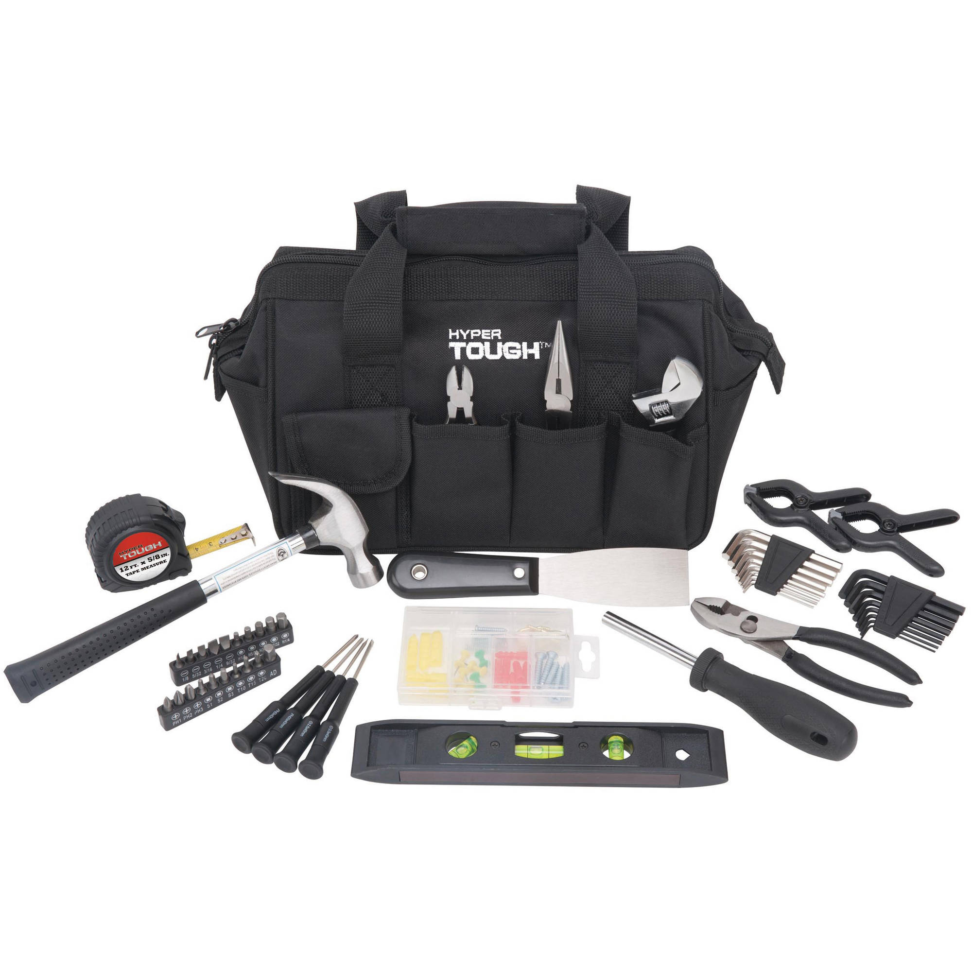 Hyper Tough 53-Piece Hand Tool Set, Black