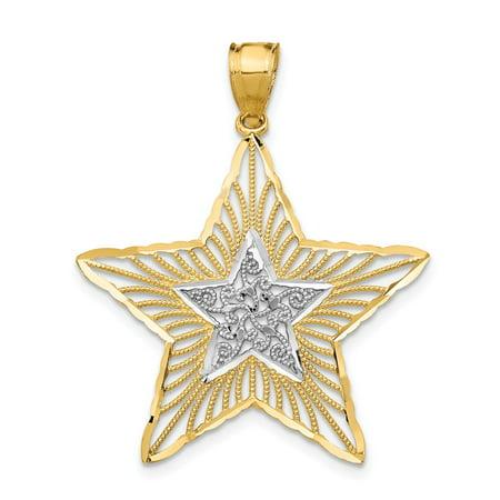 Mia Diamonds 14k Yellow Gold with Rhodium Diamond-cut Filigree Star Pendant