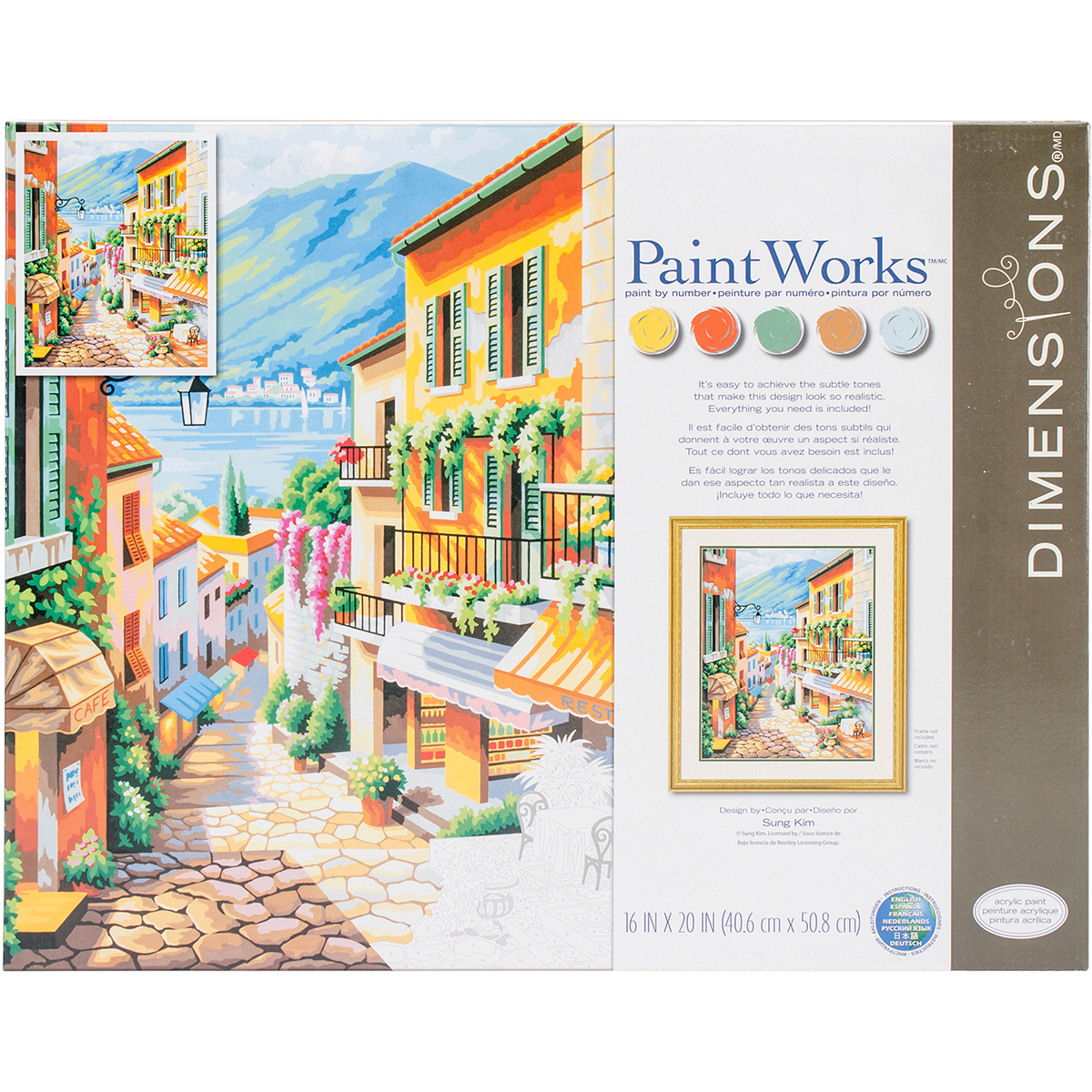 Dimensions Crafts 73-91466 Paint Works Paint by Number Kit, Village Multi-Colored