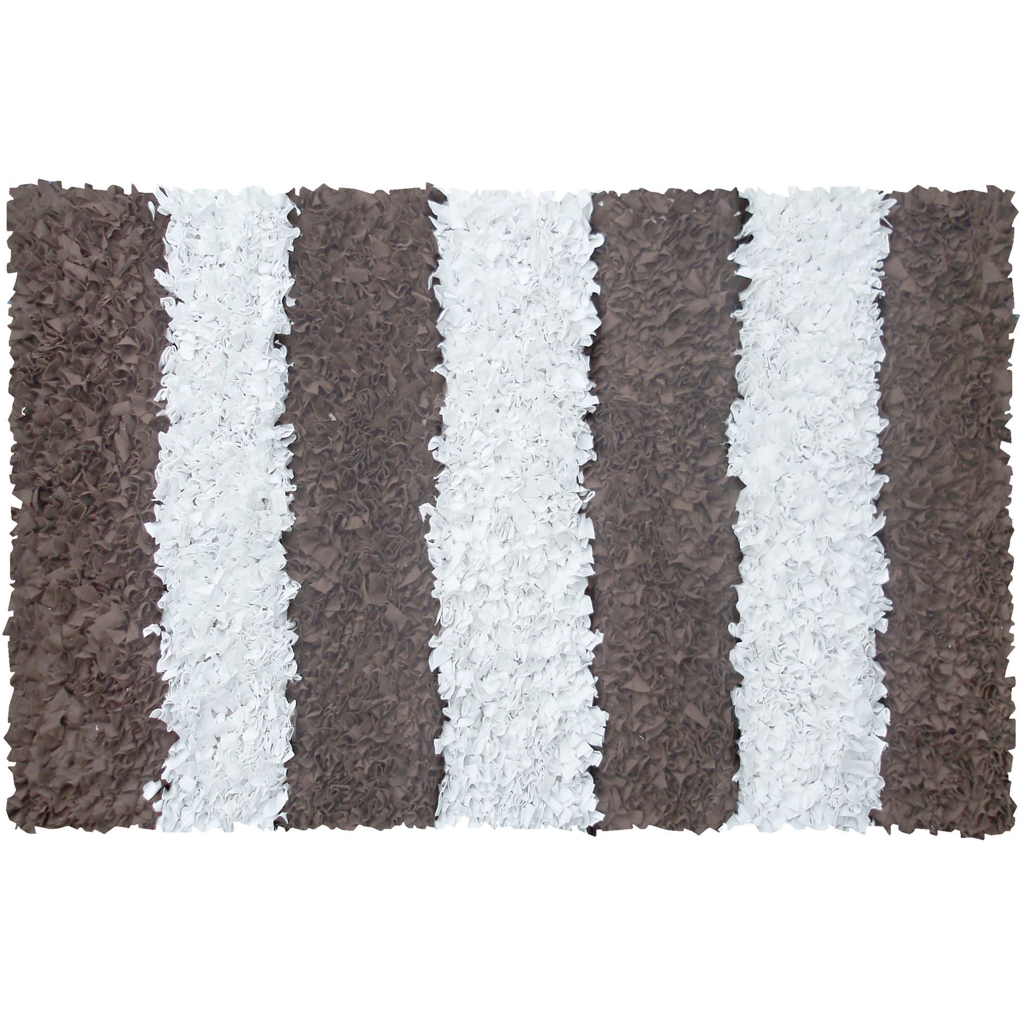The Rug Market Stripe Shag Area Rug, Brown, 2.8' x 4.8'