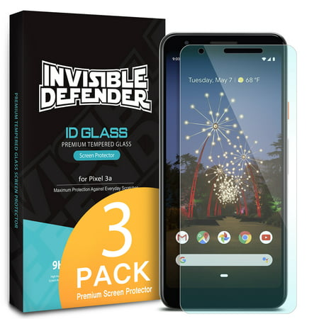 Google Pixel 3a Screen Protector, Ringke [Invisible Defender Tempered Glass - 3 Pack] Screen Protector 5.6