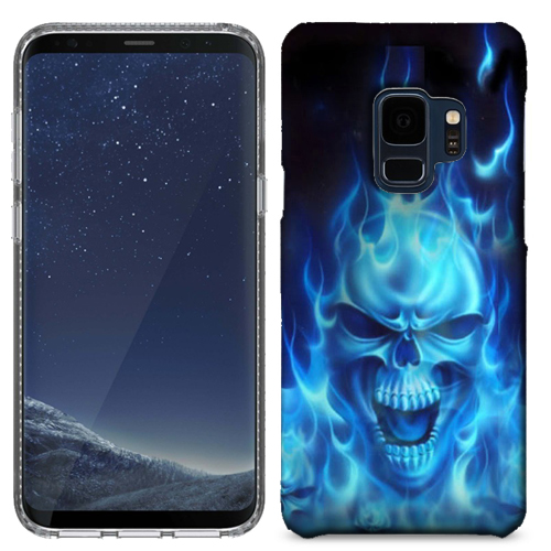 MUNDAZE Blue Flaming Skull Case Cover For Samsung Galaxy S9 PLUS