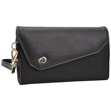 Kroo Smartphone Wallet with Shoulder Strap - Frustration-Free Packaging - Black (Wallet With Strap)