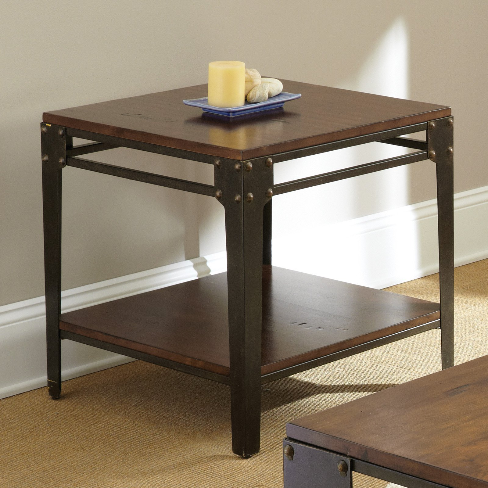 Steve Silver Barrett Square Distressed Tobacco Wood and Metal End Table