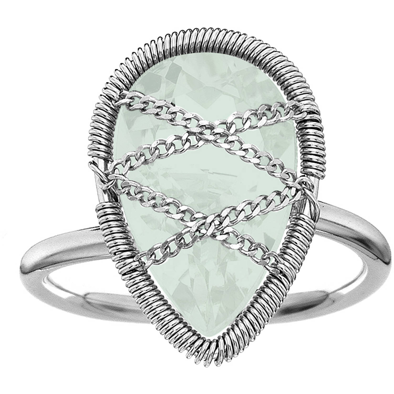 5th & Main Sterling Silver Hand-Wrapped Teardrop Chalcedony Stone Ring by Generic
