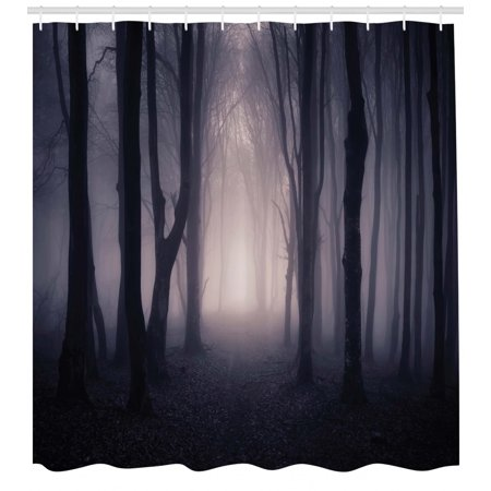 Forest Shower Curtain, Path Through Dark Deep in Forest with Fog Halloween Creepy Twisted Branches Picture, Fabric Bathroom Set with Hooks, Pink Brown, by Ambesonne