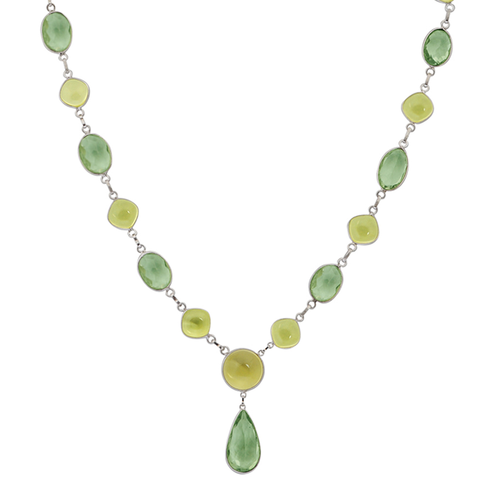 Orchid Jewelry Solid Sterling Silver 87 2 5 Carat Green Amethyst, Lemon Quartz Gemstone Necklace by Orchid Jewelry Mfg Inc