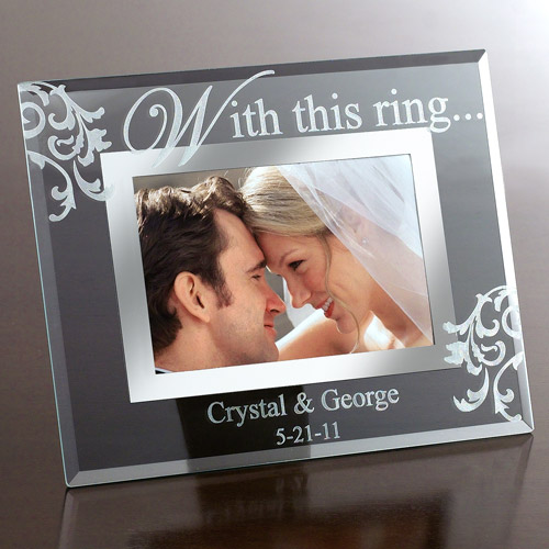 "Personalized ""With This Ring &"" Glass Frame"