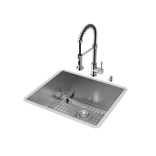 Vigo Undermount Stainless Steel Kitchen Sink Faucet Grid Strainer