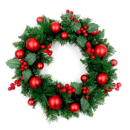 ALEKO Decorative Holiday Christmas Wreath - Green and Red Maine Christmas Wreath