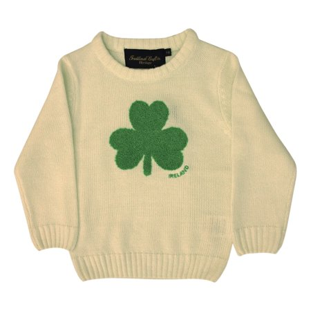Cream Knit Sweater - Cream Knit Emerald Shamrock Kids Jumper