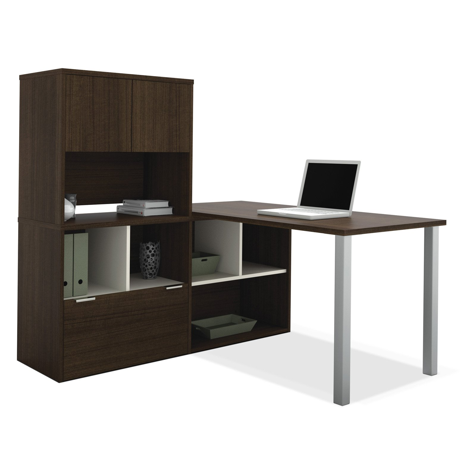 Bestar 50850-78 Contempo L-Shaped Desk with Storage Unit Tuxedo by Bestar