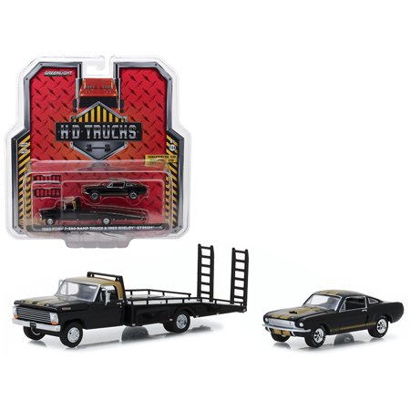 1968 Ford F-350 Ramp Truck & 1966 Shelby GT350H Black w/ Gold Stripes HD Trucks Series 13 1/64 Diecast by Greenlight Gold Diecast Collectibles