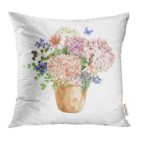 CMFUN Pink Summer Vintage Floral Blooming Hydrangea Garden Flowers in Pot Blue Pillowcase Cushion Cover 16x16 inch
