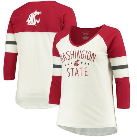 Washington State Cougars Pressbox Women's Plus Size Pomona 3/4 Sleeve V-Neck T-Shirt - (Compassion In Dying V State Of Washington)