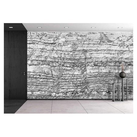 wall26 - Black and White Cracked Stone Pattern for the Best Texture and Design Artwork - Removable Wall Mural | Self-adhesive Large Wallpaper - 100x144