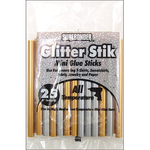 "Mini Glue Sticks 4"" 25/Pkg-Gold/Silver"