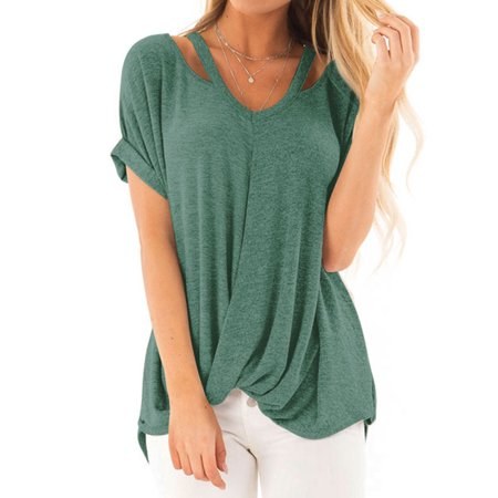 Nlife Women Cut Out V Neck Short Sleeve Twist Knot Hem Tops