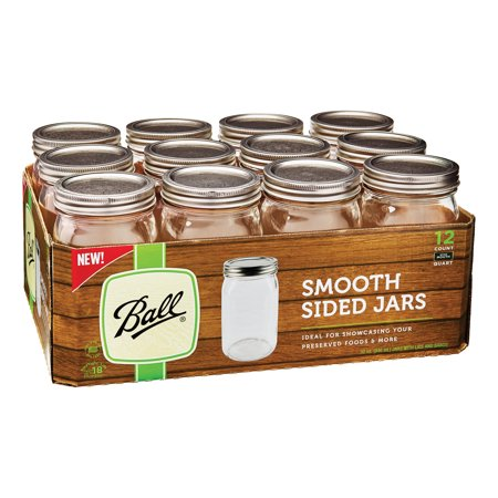 Large Mason Jars (Ball Wide Mouth Smooth Sided Mason Jars with Lids and Bands, 32 oz., 12)