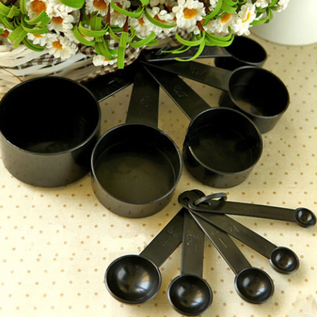 10Pcs Black Plastic Measuring Spoons Cups Set Tools For Baking Coffee Tea by