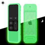 Fintie Silicone Case Cover for Apple TV 4K / 4th Gen Remote Controller, Green - Glow in the Dark