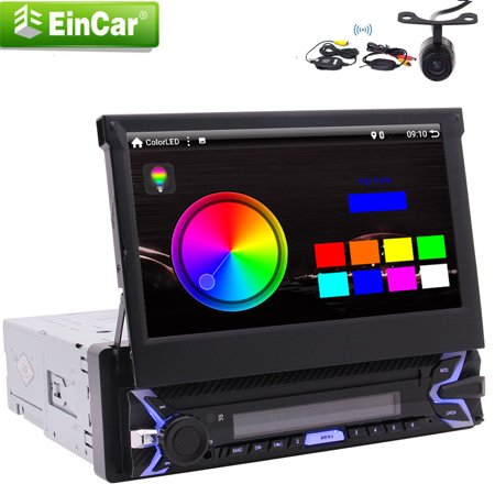Eincar Android 9.0 Pie system Auto Build-in WiFi AM/FM Mirror Link Car Stereo Single Din with 7inch 1024*600 super high definition digital screen and GPS Navigation with wireless Backup Camera