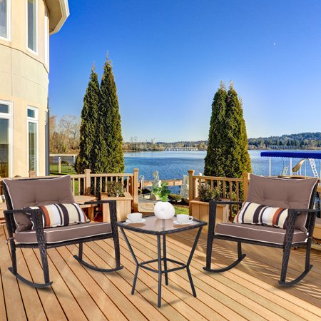 Costway 3 PCS Patio Rattan Wicker Furniture Set Rocking Chair Coffee Table with Cushions ()