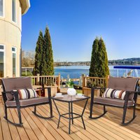 Costway 3 PCS Patio Rattan Wicker Furniture Set Rocking Chair Coffee Table with Cushions