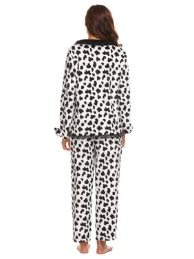 Women Maternity Two Pieces Plush Pajamas Set Long Sleeve Top and Long Pants HFON