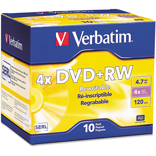 Verbatim DVD+RW 4.7GB 4X 10pk Jewel Case