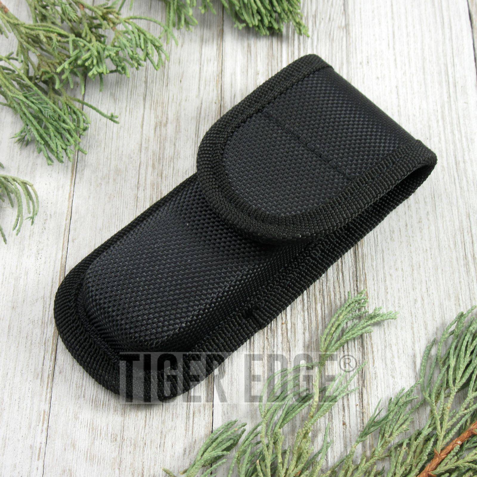 FOLDING KNIFE SHEATH | Black Nylon Tactical Belt Pouch - For Folders up to 4.5""