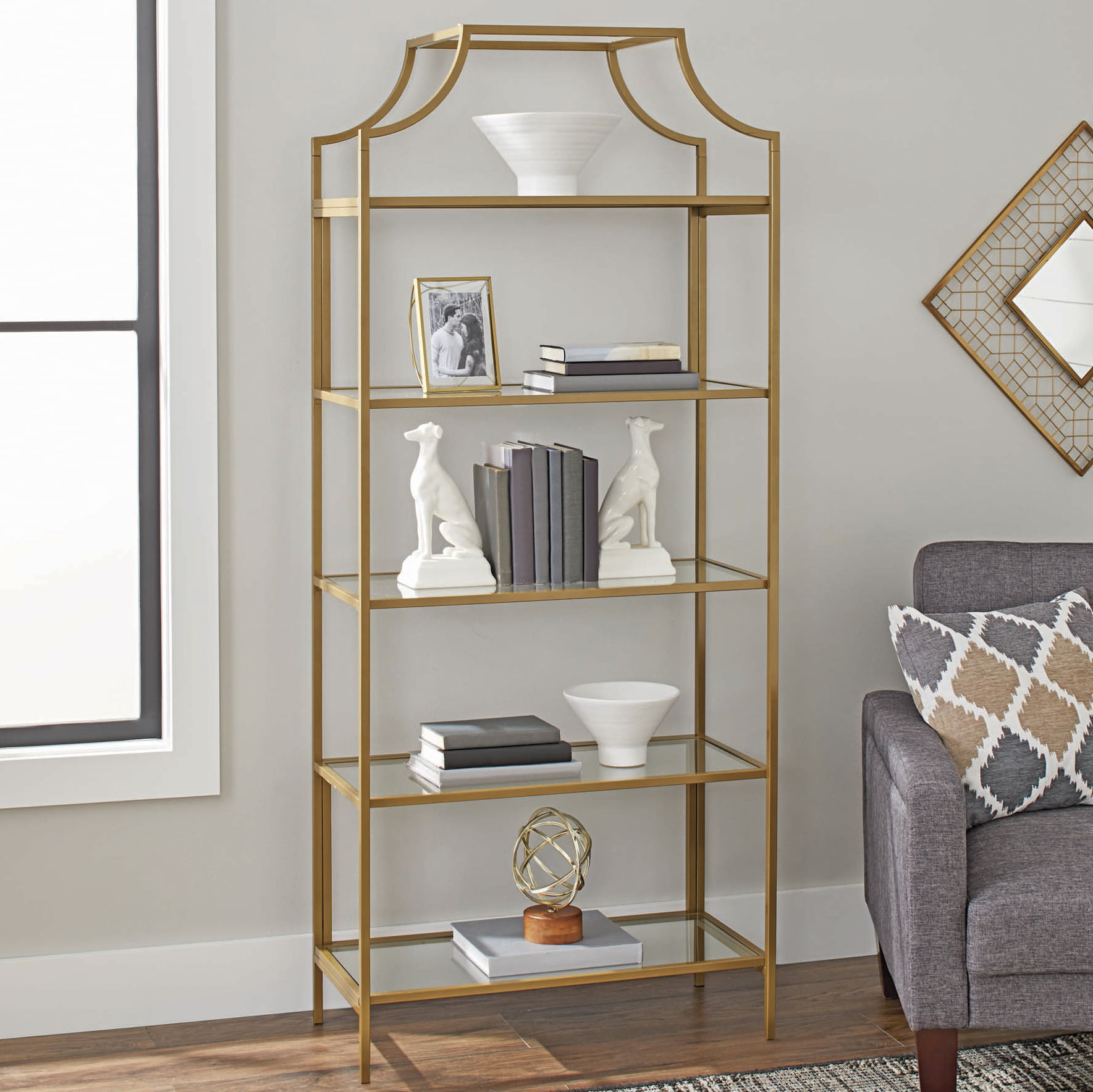 Better Homes Gardens 71 Nola 5 Tier Etagere Bookcase Gold Finish Walmart Com