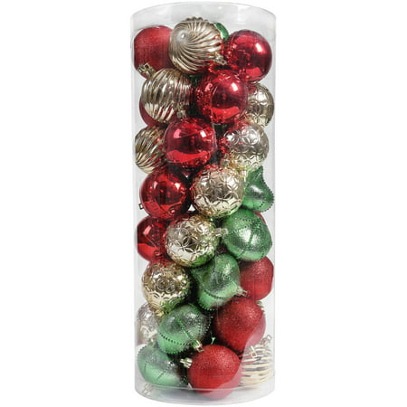 Holiday Time Shatterproof Ornaments, Red, Green, & Gold, 50 - Holiday Ornaments Tie