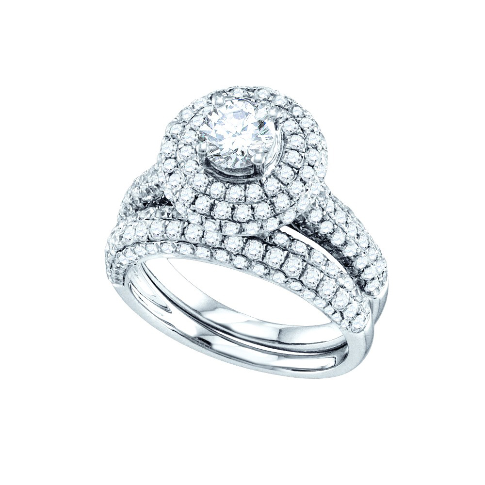 14kt White Gold Womens Round Diamond Halo Bridal Wedding Engagement Ring Band Set 2-1 5 Cttw by GND