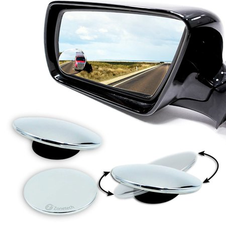 Zone Tech Blind Spot Adjustable Mirrors - 2-Pack  Blind Spot Mirror Adjustable Stick-On Exterior Side Mirror for All Cars Motorcycles Trucks Snowmobiles