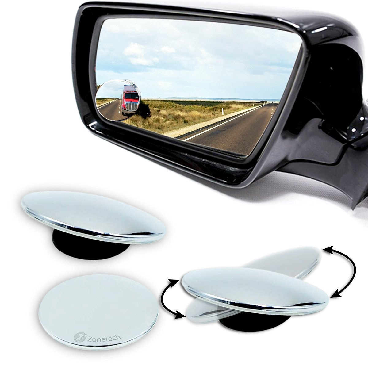 Zone Tech Blind Spot Adjustable Mirrors   2 Pack Blind Spot Mirror  Adjustable Stick
