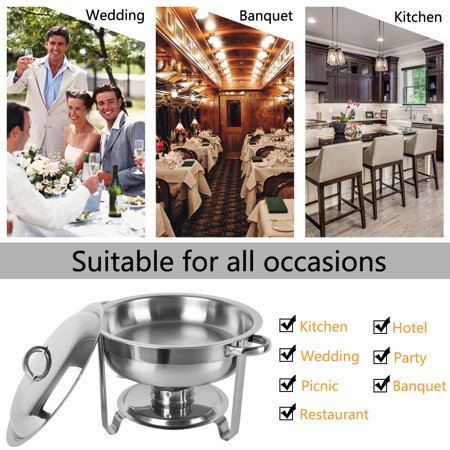 Zimtown Round Chafing Dish 5 Quart Stainless Steel Tray Buffet Catering, Dinner Serving Buffer Warmer Set, Pack of 1/2/4 - image 4 de 6