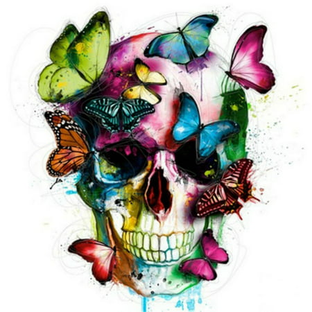 5D Diamond Painting Full Diamond Covered Crafts DIY Kits for Decor, Colorful Butterfly and Skull - Colorful Skull