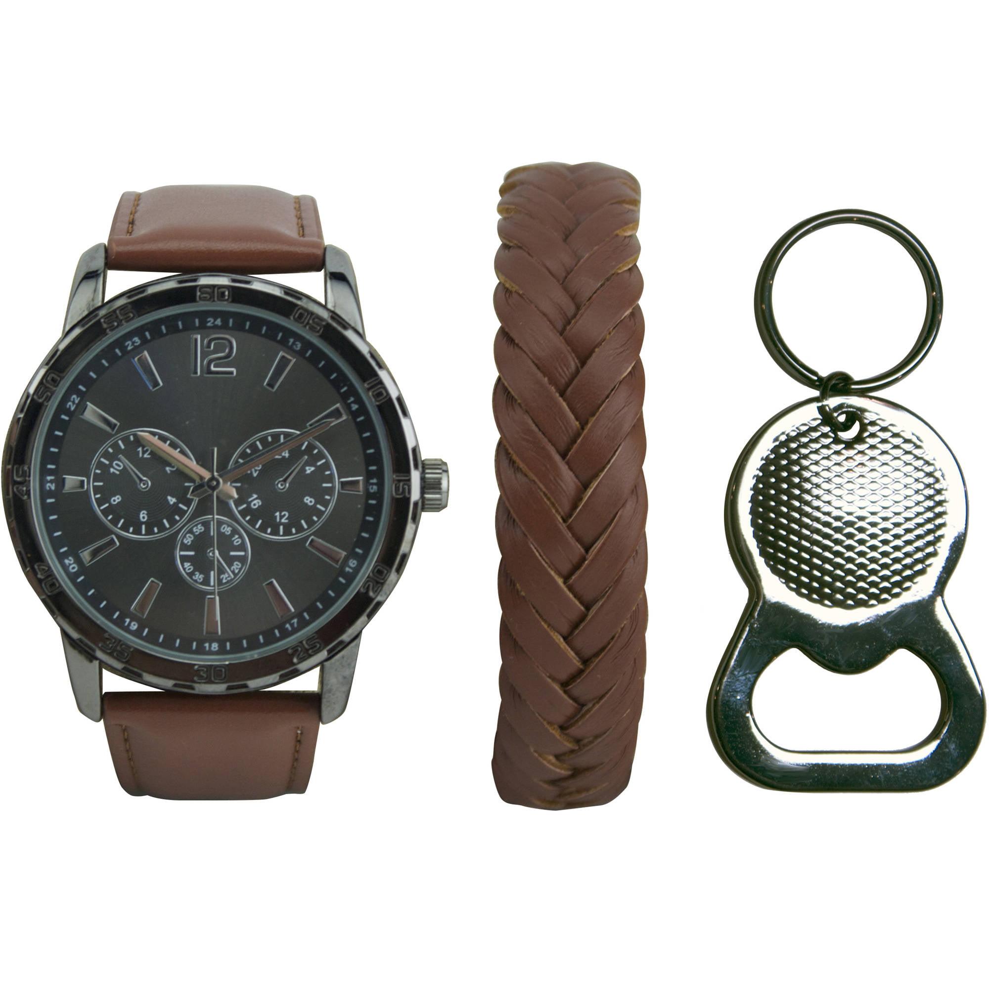 Men's Gunmetal and Cognac Watch Set with Bracelet and Bottle Opener