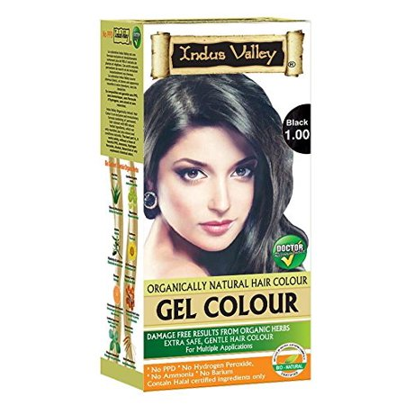 Indus Valley Permanent Herbal Gel Hair Colour Black 1.0