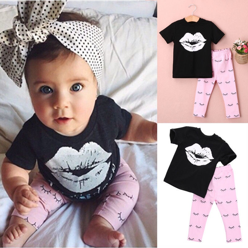 Newborn Infant Kids Baby Girls Batman T-shirt +Pant Outfits Clothes Set