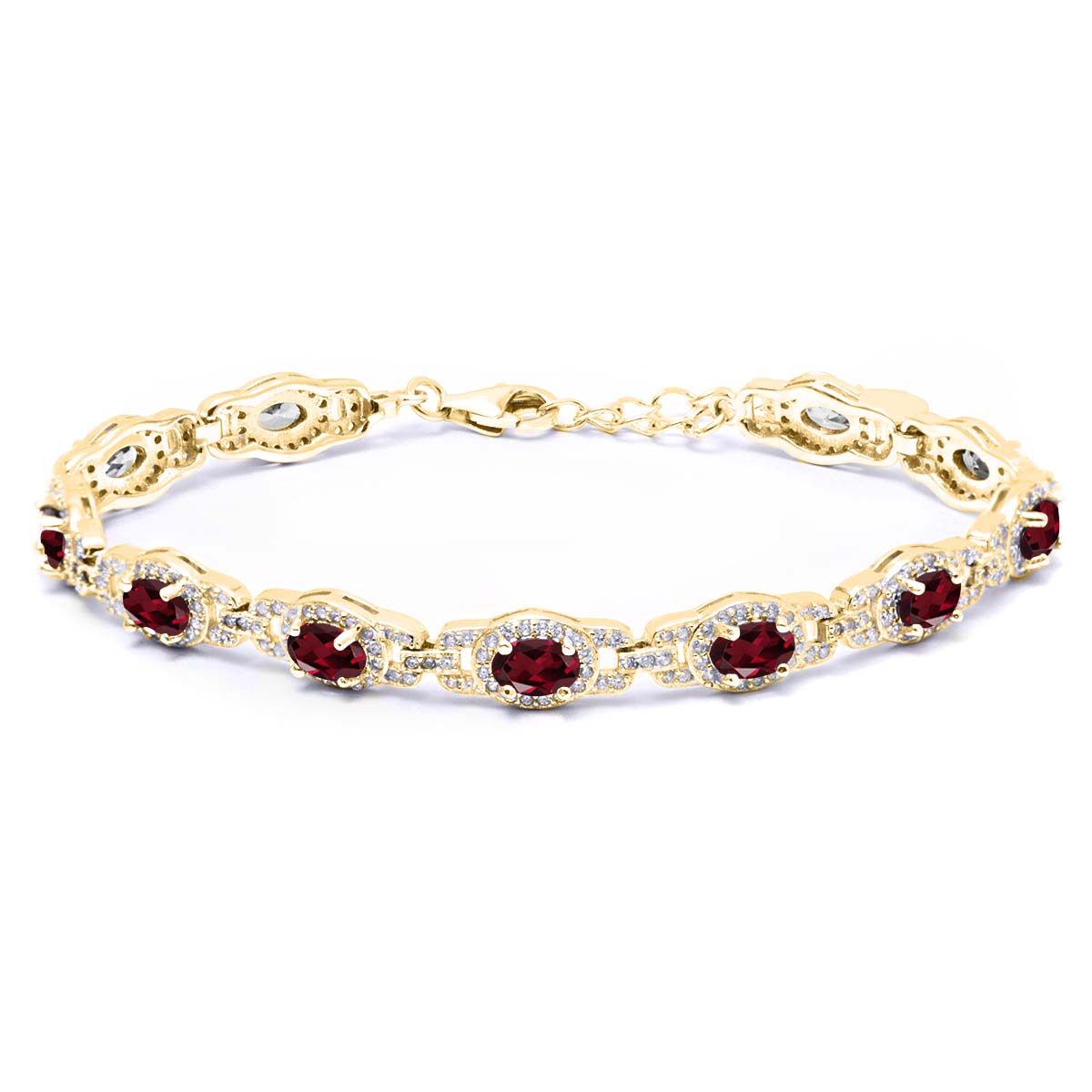 9.10 Ct Red Rhodolite Garnet 18K Yellow Gold Plated Silver Bracelet by
