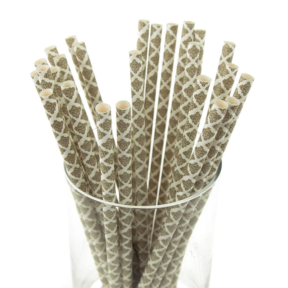 Damask Paper Straws, 7-3/4-inch, 25-Piece