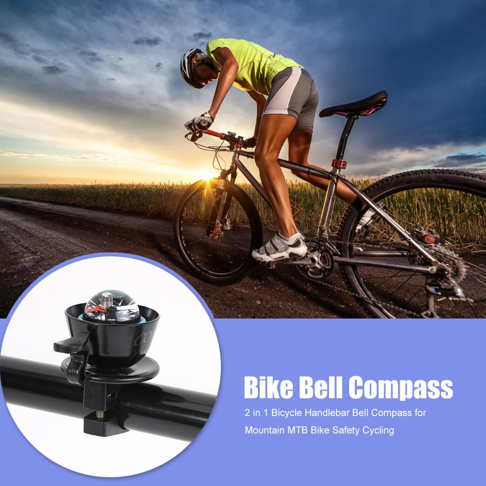 Compass Bicycle Bike Cycle Bells Silver Black Birthday Present Gift Travel