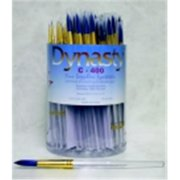 Dynasty C-400 Sapphire Round Synthetic Fiber Short Acrylic Handle Paint Brush Assortment, Clear With Blue, Pack - 72