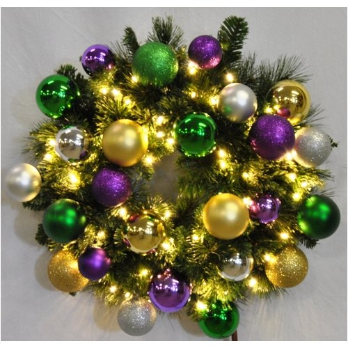 Queens of Christmas Pre-Lit Sequoia Wreath Decorated with Mardi Gras Ornament