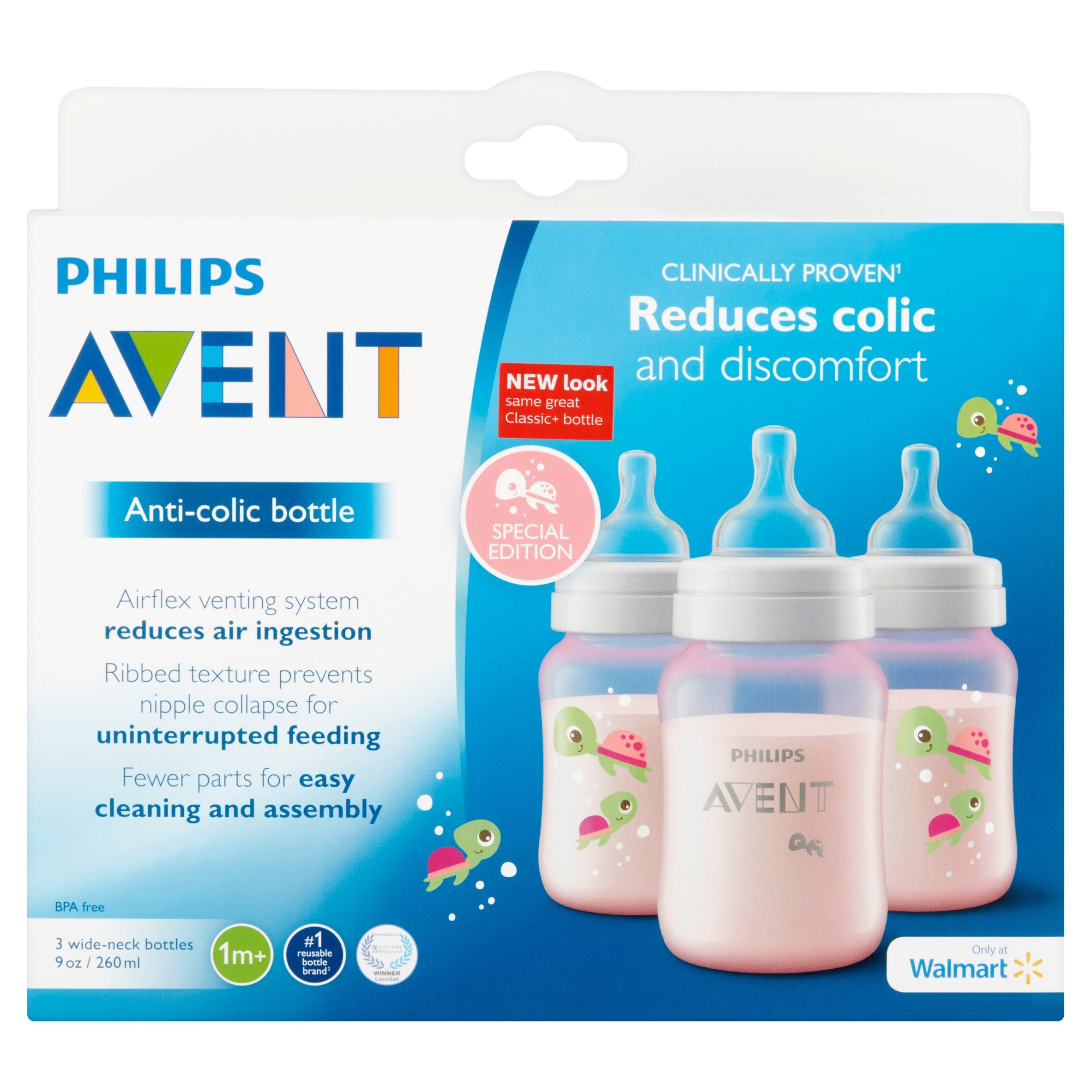 Philips Avent 9 oz Anti-Colic Wide-Neck Bottles 1m+, 3 Count